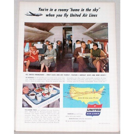 1953 United Air Lines Color Print Ad - Home In The Sky