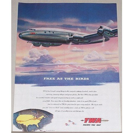 1945 TWA Airlines Soltesz Color Print Art Ad - Free As The Birds