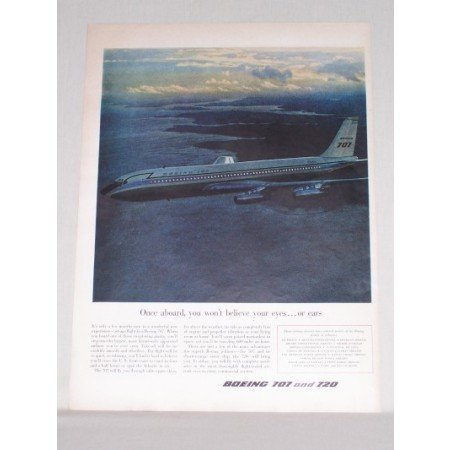 1958 Boeing 707 Airliner Plane Color Print Ad