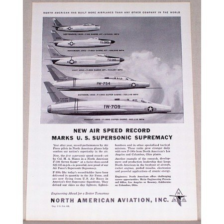 1955 North American Aviation Vintage Print Ad - Speed Record - 5 Jets