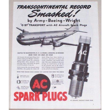 1945 AC Spark Plugs Boeing C-97 Transport Plane Vintage Print Ad