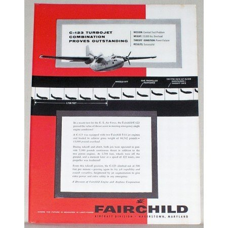 1956 Fairchild C-123 Turbojet Plane Color Print Ad