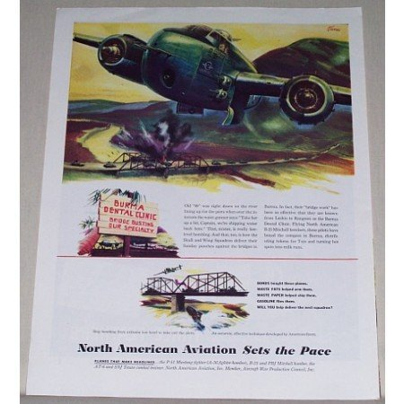 1945 North American Aviation B-25 Mitchell Bomber Color Print Art Ad