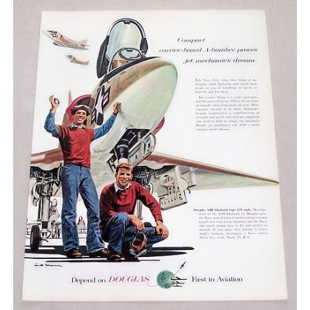 1956 Douglas A4D Skyhawk Navy Jet Art Color Print Ad - A-Bomber