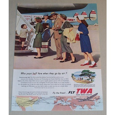 1954 TWA Airlines Color Print Ad - Who Pays Half Fare