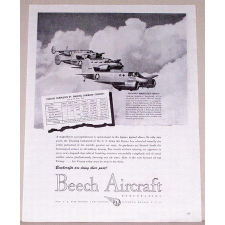 1944 Beech Aircraft Bomber Crew Trainers Vintage Print Ad