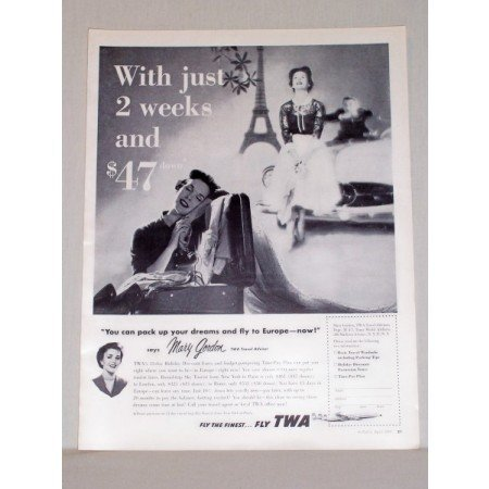 1957 TWA Airlines Vintage Print Ad - Pack Up Your Dreams - Europe