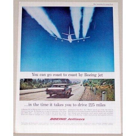 1961 Boeing Jetliners Color Print Ad - Coast To Coast