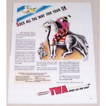 1944 TWA Airlines Indian Horse Art Color Print Ad - Goes All The Way