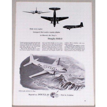1953 Douglas R4D-8 Twin Engine Transport Plane Vintage Print Ad