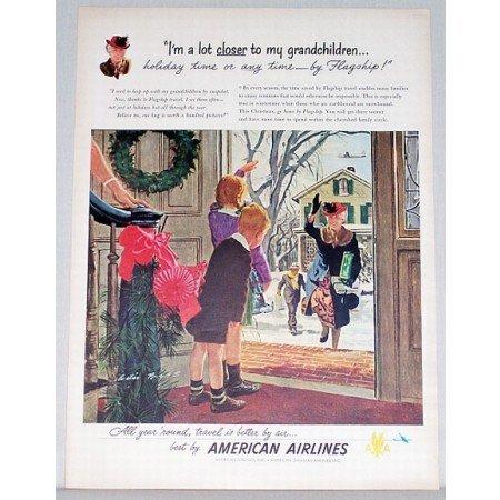 1948 American Airlines Color Print Art Ad - I'm Alot Closer
