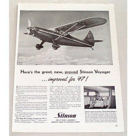 1947 Stinson Voyager Aircraft Vintage Print Ad - Flying Station Wagon
