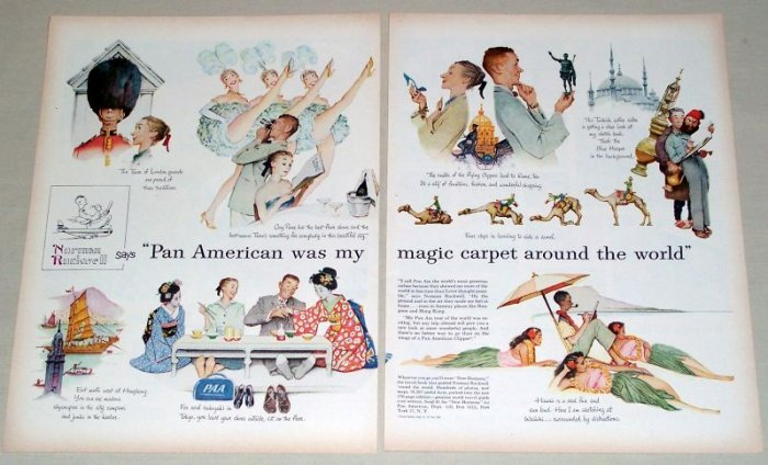 1956 Pan American Airlines Norman Rockwell Color Art 2 Page Print Ad