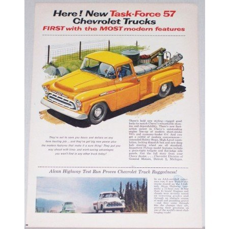 1957 Chevrolet 3100 Pickup Truck Color Print Art Ad - Task Force