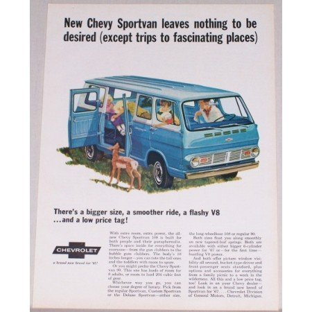 1967 Chevy Sportvan 108 Color Print Ad - Leaves Nothing