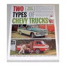 1961 Chevrolet Chevy Trucks Color Print Ad - Fleetside Pickup