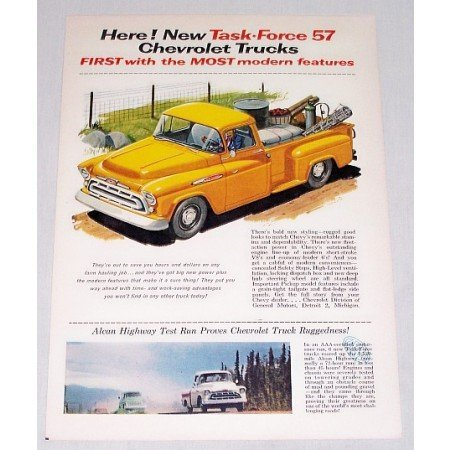 1956 Color Print Ad for 1957 Chevrolet 100 Pickup Truck