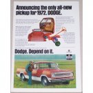 1972 Dodge Pickup Truck Color Print Ad - Depend On It