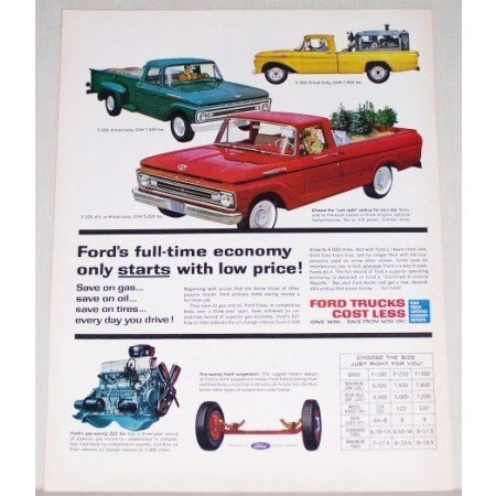 1962 Ford Pickup Trucks Color Print Ad - F100 F250 F350