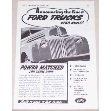 1941 Ford Trucks Vintage Print Ad - Power Matched