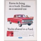 1967 Ford 100 Ranger Pickup Truck Color Print Ad - Earns Its Living