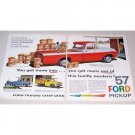 1957 Ford F150 Custom Cab Pickup Truck 2 Page Color Print Ad