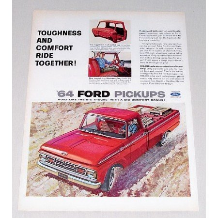 1964 Ford Custom Cab Pickup Truck Color Print Ad