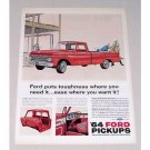 1964 Ford 100 Custom Cab Pickup Truck Color Print Ad
