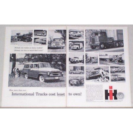 1957 International Trucks 2 Page Vintage Print Ad - 16 Models