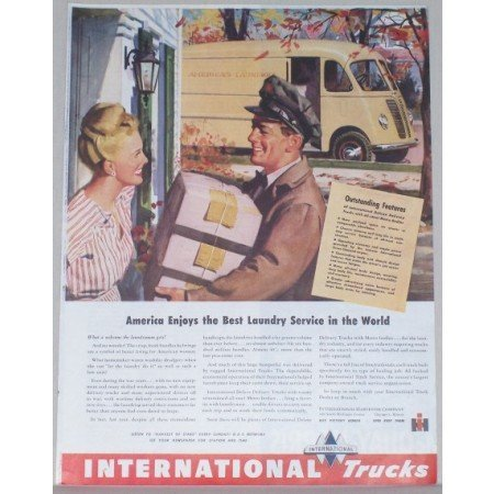 1945 International Trucks Color Print Ad - Laundry Deliver