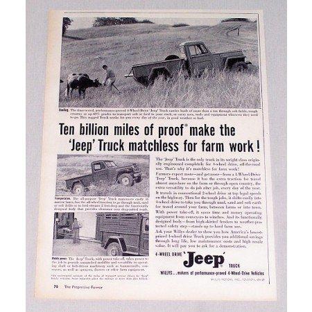 1956 Jeep 4 Wheel Drive Truck Vintage Print Ad - Matchless Farm Work