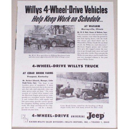 1954 4 Wheel Drive Willys Jeep Vintage Print Ad - Work On Schedule
