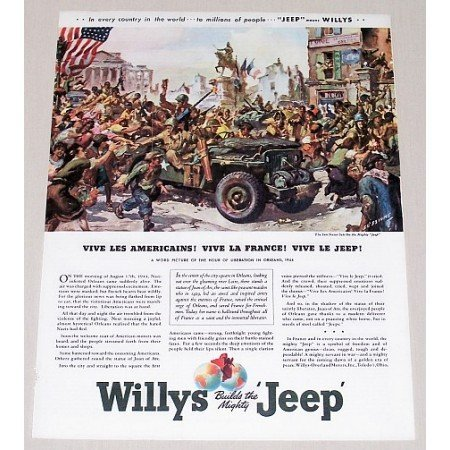 1945 Willys Jeep Sessions Art Color Wartime WWII Print Ad