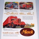 1949 Mack Trucks Delivery Fire Truck Bus Bulldog Art 2 Page Color Print Ad