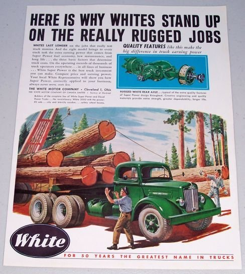1949 White Motor Company Green Log Truck Color Transportation Print Art Ad