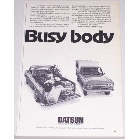 1971 Nissan Datsun Pickup Truck Vintage Print Ad - Busy Body