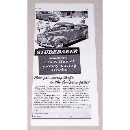 1941 Studebaker Truck Vintage Print Ad - Gas-Saving Thrift