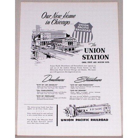 1955 Union Pacific Railroad Chicago Union Station Vintage Print Ad