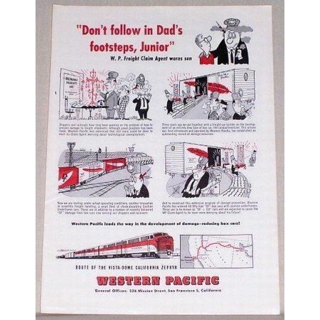 1954 Western Pacific California Zephyr Train Color Print Art Ad