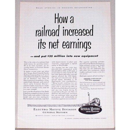 1953 General Motors Locomotives Vintage Print Ad - Net Earnings