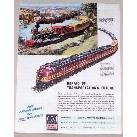 1944 GM Locomotive Boston And Maine 4204 Color Railroad Train Color Print Ad