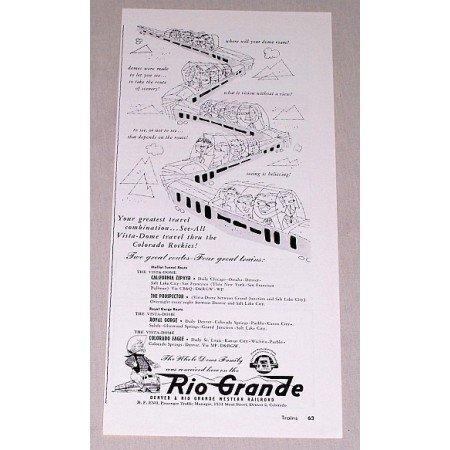 1955 Rio Grande Western Railroad Train Vintage Print Ad