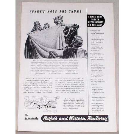 1953 Norfolk Western Railway Vintage Print Ad - Henrys Nose and Thumb