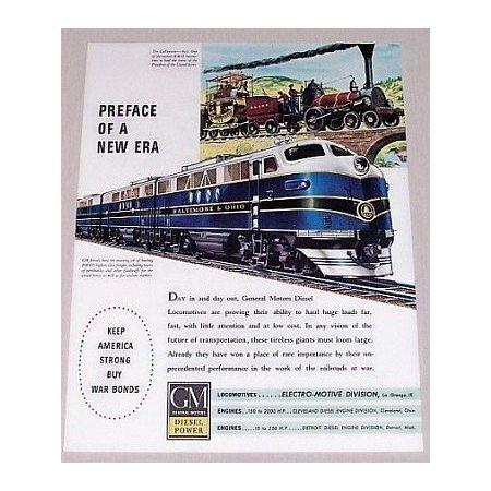 1944 GM Locomotives Baltimore Ohio Color Railroad Color Print Ad