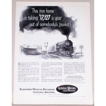 1953 General Motors Locomotives Vintage Print Ad - Iron Horse