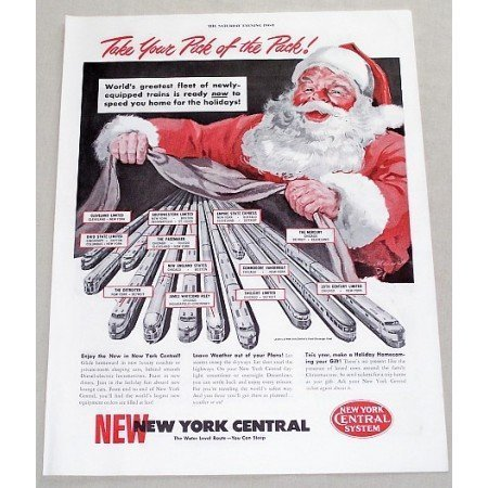 1949 New York Central System Railroad Christmas Santa Art Color Print Ad