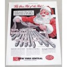 1949 New York Central System Railroad Christmas Santa Art Color Print Ad