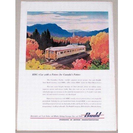 1954 Budd Canadian Pacific Passenger Car Railroad Color Print Scenic Art Ad