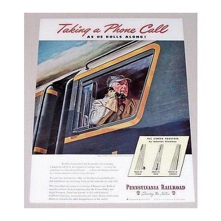 1945 Pennsylvania Railroad Color Print Art Ad - Taking Phone Call