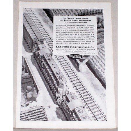 1956 General Motors Locomotives GP9 Train Vintage Print Ad